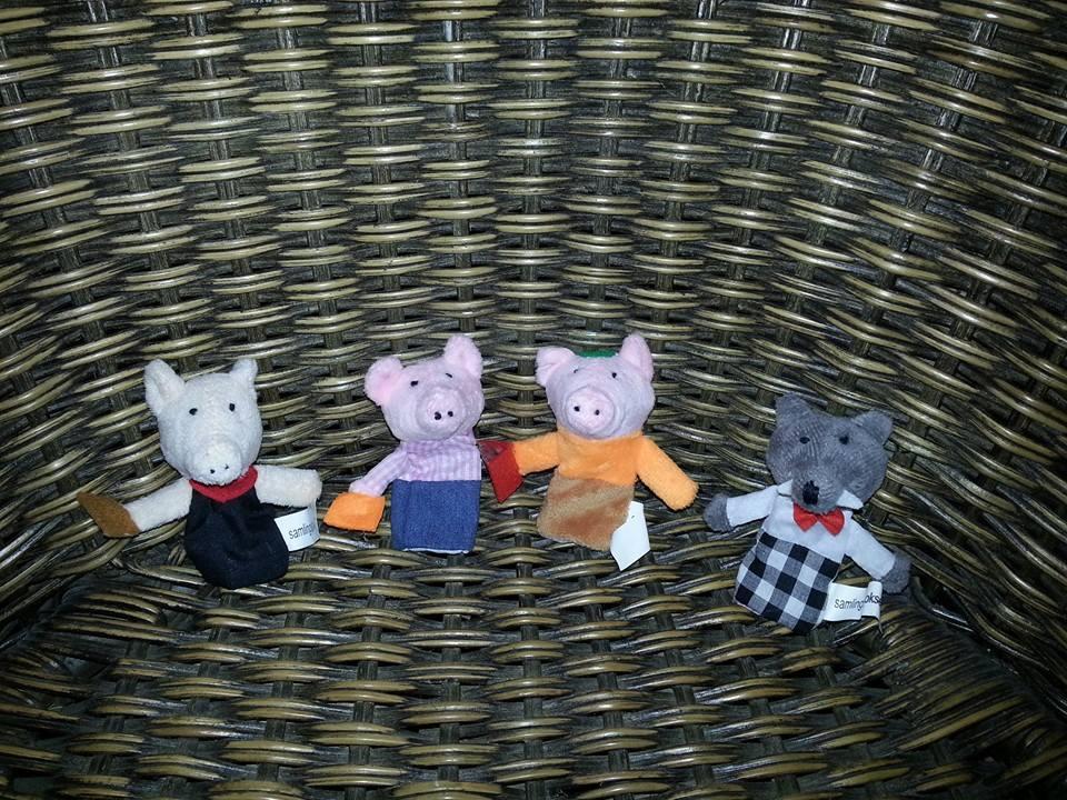 Fingerdokker Dei tre små griser og ulven